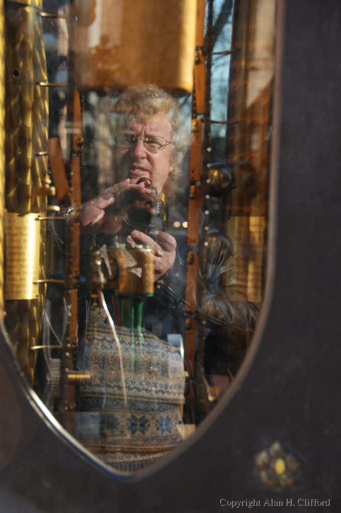 Reflection in the steam clock