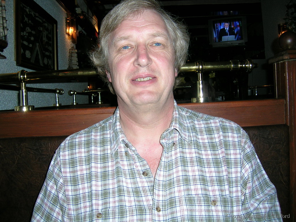 Alan in a restaurant in Amsterdam