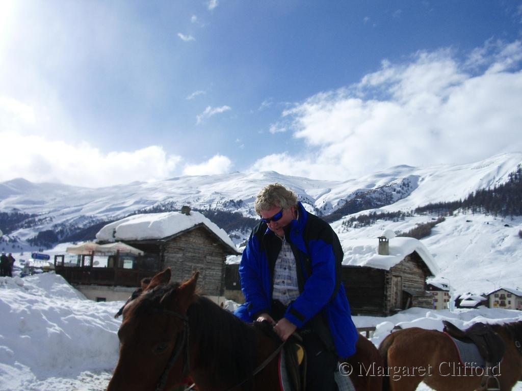 Alan on a horse in Livigno