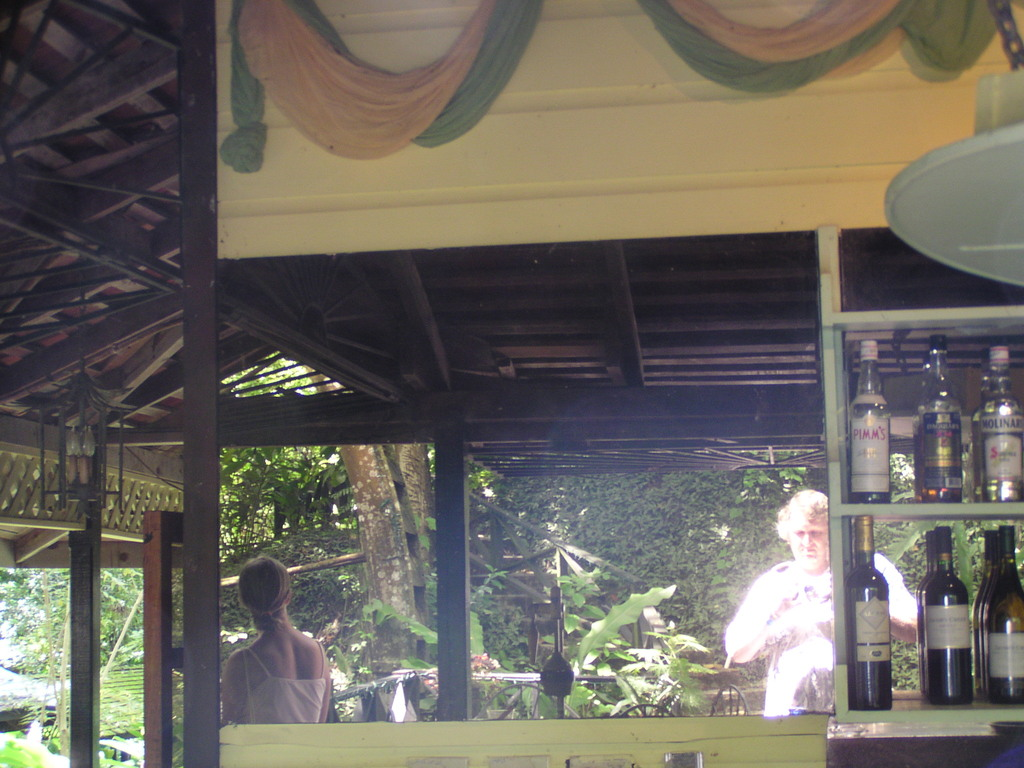 The waterwheel in the bar mirror at Arnos Vale, Tobago - a photo for the mirror project