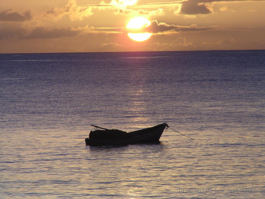 Fishing boat sunset, Great Courland Bay, Tobago