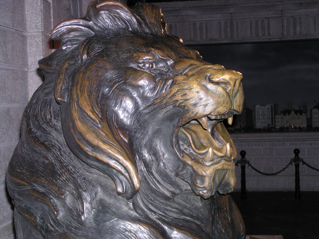Original Hong Kong and Shanghai Bank lion in the Shanghai History Museum